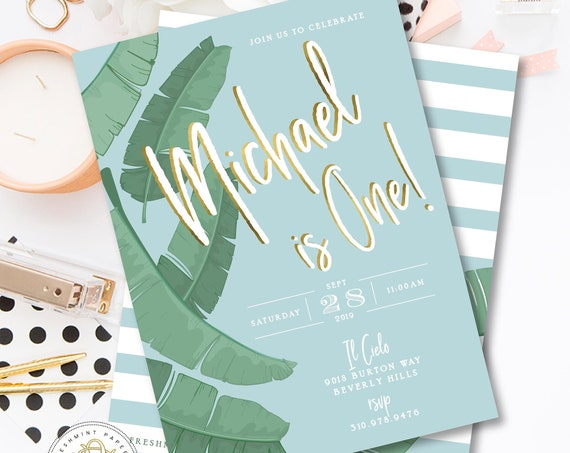Tropical invitation - Beverly Hills Hotel Birthday invitation - banana Leaf invitation - Tropical Birthday Invitation - Palm Leaves Blue