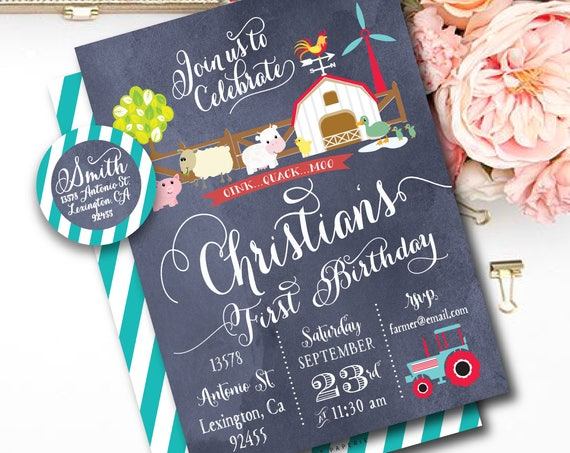 Barnyard birthday invitation - farm invitation - barnyard invitation - calligraphy - kids birthday invitation - freshmint paperie
