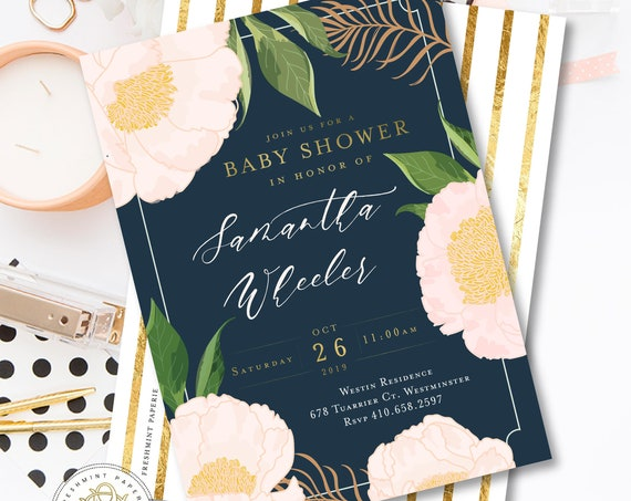Navy Baby Shower Invitation - baby shower invitation - Floral invitation - navy stripes - watercolor flowers