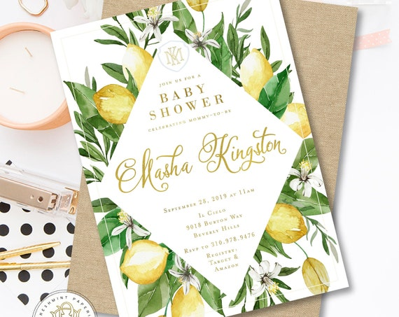 Lemon invitation - Lemons invitation - Bridal Shower invitation - Porcelain lemon invitation - Mediterranean invite - freshmint paperie