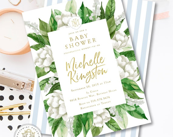White floral invitation - Gardenia invitation - baby Shower invitation - Leaf invitation - Mediterranean invite - freshmint paperie