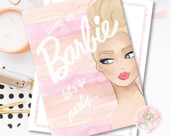 Barbie invitation - Barbie Birthday Invitation - Barbie Party - Barbie Party invitation - Doll Party Invite - Doll invitation