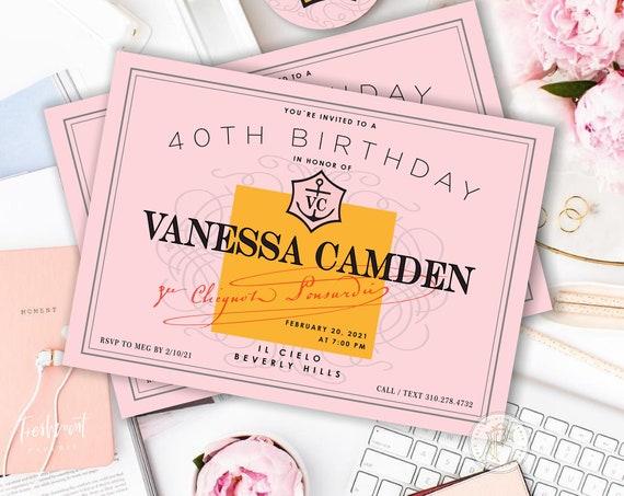 Champagne invitation - bridal shower invitation - pink & orange invitation - Champagne - Brunch Invitation