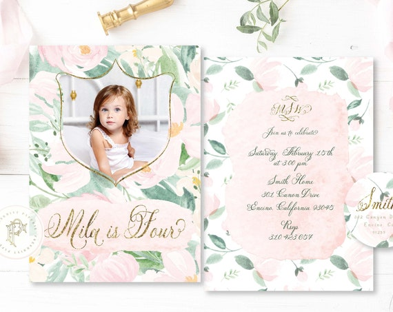 Blush Peony girls birthday invitation Floral Birthday invitation Picture invitation Watercolor Floral Birthday Invitation pretty paper peony