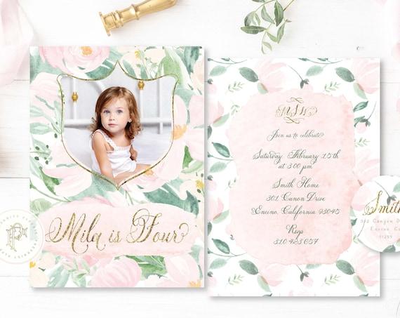 Blush Peony girls birthday invitation Floral Birthday invitation Picture invitation Watercolor Floral Birthday Invitation pretty paper peony