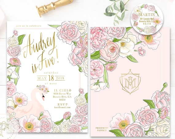 Swan Birthday Invitation, Swan Princess Invitation, Swan Birthday Party, Swan Invite, Swan Princess Birthday Invites