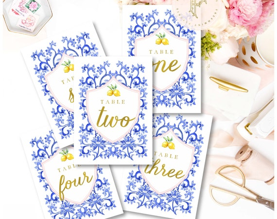 Lemon Citrus table numbers - table numbers - calligraphy table numbers - stationery - freshmint paperie