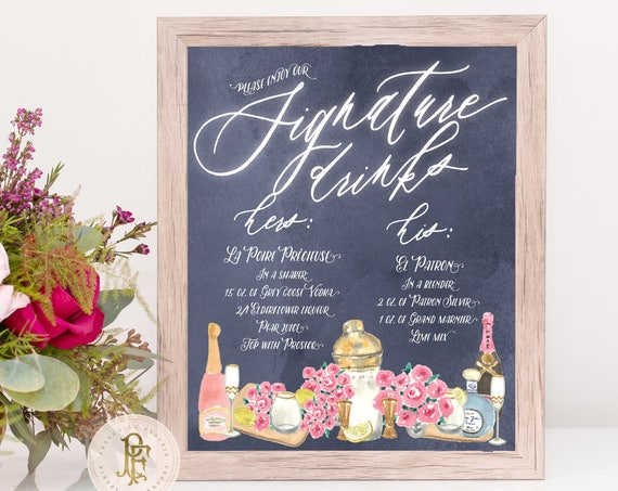Custom Drink Menu · Bar Menu · Bar Sign · Cocktail Menu · chalkboard drink menu · Drink Menu · Wedding Menu