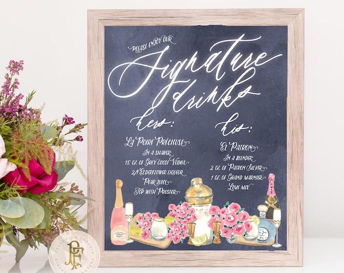 Custom Drink Menu · Bar Menu · Bar Sign · Cocktail Menu · chalkboard drink menu · Drink Menu · Wedding Menu