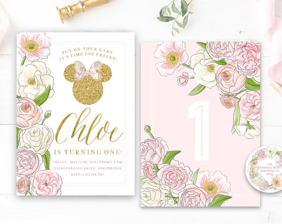 Minnie invitation - Minnie Mouse Birthday - Minnie Party - Minnie invitations - Minnie digital invitation - Minnie floral invitation