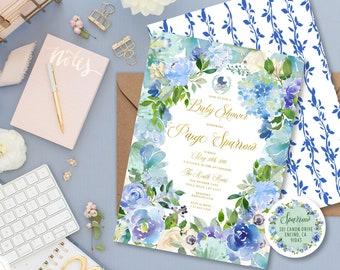 Blue Floral invitation - Floral Watercolor invitation - baby shower invitation - Baby Boy Shower invitation - freshmint paperie