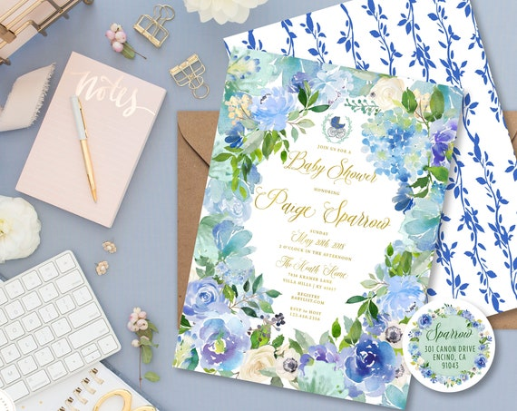 Blue Floral invitation - Floral Watercolor invitation - baby shower invitation - Baby Boy Shower invitation - freshmint paperie