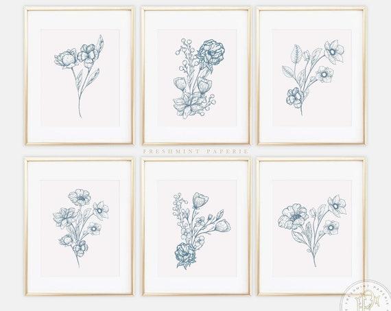 Blue Botanical Prints, Blue Wall Art, Vintage Botanical Prints, Custom Botanical Plates, Jasmine Prints, Chinoiserie wall art, Set of 6