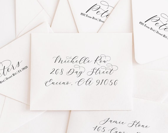 Return and Guest addressing on envelopes - Recipient addressing - Return address -  Envelopes addressing - freshmint paperie