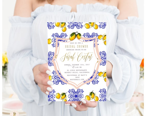 Citrus invitation - Lemon invitation - bridal shower invitation - Blue Chinoiserie - freshmint paperie