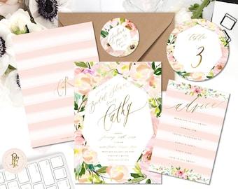 Watercolor Floral invitation | Floral invitation | Bouquet invitation | Bridal shower invitation | Pretty invitation | freshmint paperie