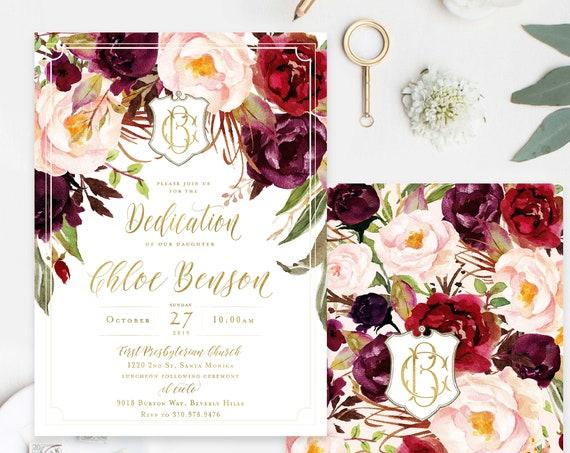 Dedication invitations, baptism, christening, Burgundy & Blush invitation, religious, digital or printed, fall invitation