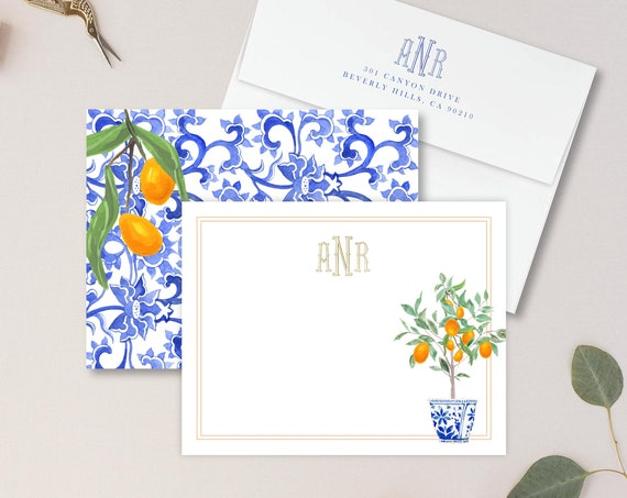 Personalized Stationery - Monogram Note Cards - Monogram Stationery Note Cards - Ginger Jar - Orange Chinoiserie - set16