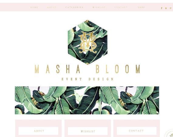 Palm Leaf logo - watercolor logo - blush logo - calligraphy logo - watercolor logo - leaf logo
