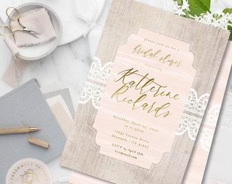 Bridal Shower invitation - Wood invitation - Blush Pink Invitation - Lace invitation - pretty - light wood - monogram
