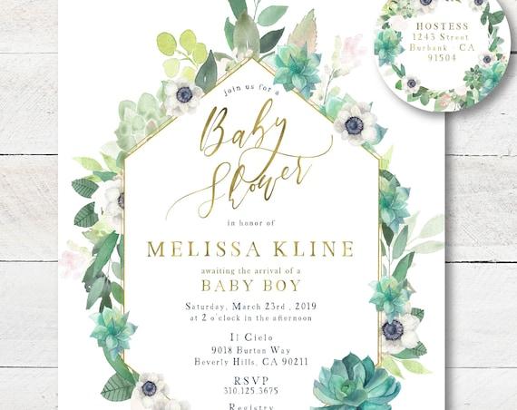 Succulent invitations - Succulents Greenery invitation - baby shower invitation - Floral Baby Shower Invite - Garden Invitation