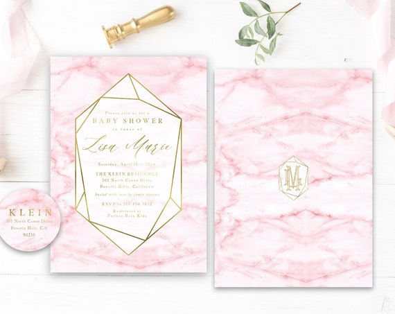 Geometric Baby Shower invitations Pink & Gold marble Baby Shower Invitation girl Modern Baby Sprinkle Invite