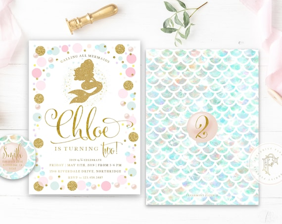 Mermaid invitation pretty mermaid glitter mermaid pearl mermaid invitation ocean mermaid confetti invitation freshmint paperie