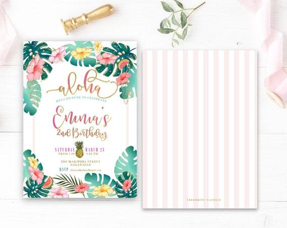 LUAU invitation - tropical invitation - aloha invitation - hawaiian invitation - pineapple invitation - paradise invite - freshmint paperie