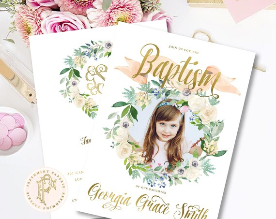 Baptism invitation - Christening invitation - Dedication invitation - Baptism - Christening - Dedication invite - Picture Baptism Invite