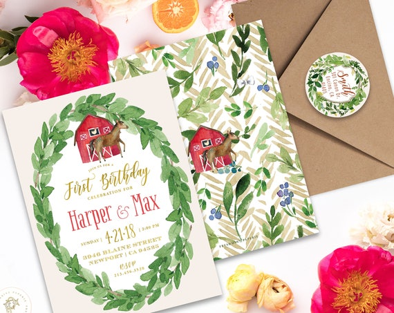 Farmhouse invitation - first birthday invitation - Farm invitation - Petting zoo invitation - Horse invitation - Barnyard invitation