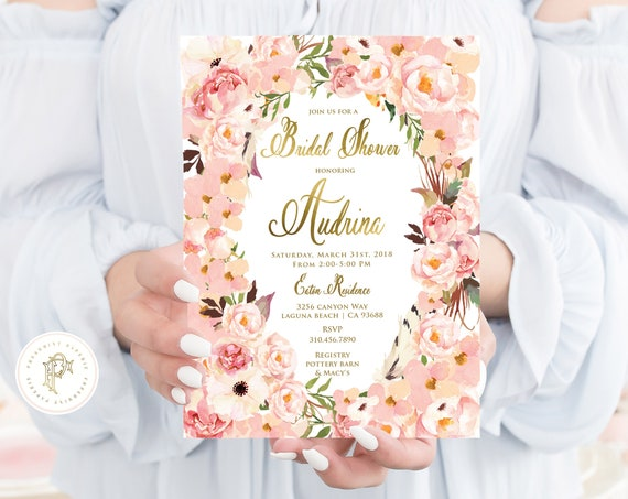 Floral Bridal Shower Invitation - bridal shower invitation - floral invitation - watercolor flowers invitation - freshmint paperie