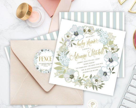 baby shower invitation - floral shower invitation - blue floral invitation - calligraphy - boy baby shower - freshmint paperie