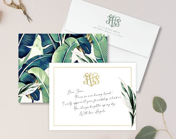 Personalized Stationery - Monogram Note Cards - Monogram Stationery Note Cards - Stationery Suite - Beverly Hills Hotel