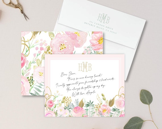 Personalized Stationery - Monogram Note Cards - Monogram Stationery Note Cards - Stationery Suite - Lemon Suite