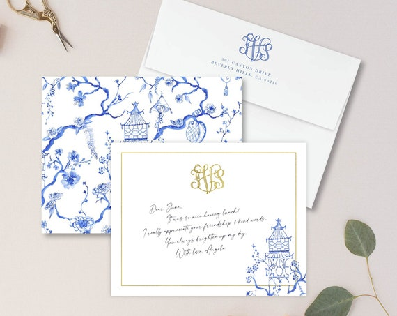 Personalized Stationery - Monogram Note Cards - Monogram Stationery Note Cards - Stationery Suite - Chinoiserie