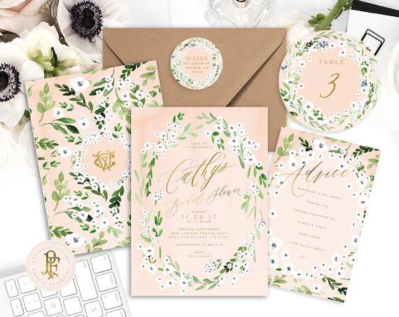 anemone invitation | white floral invitation | peach invitation | bridal shower invitation | floral invitation | freshmint paperie