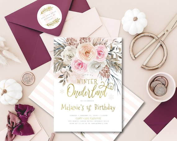 Winter onederland invitation | winter wonderland invitation | Winter Onederland | first Birthday | Winter Onederland Birthday invitation