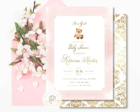 Teddy Bear invitation - baby shower invitation - Pink teddy bear invitation - Vintage Teddy Bear invitation - Damask - Freshmint Paperie