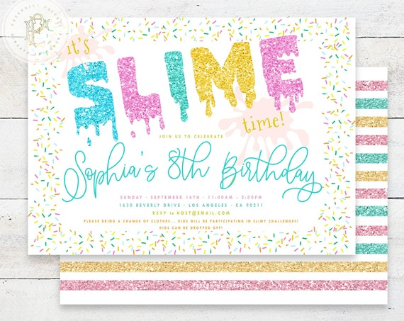 SLIME invitation | Slime Birthday Invitation | Slime Party invitation | Double Dare invitation | Glitter Slime Party | Slime theme