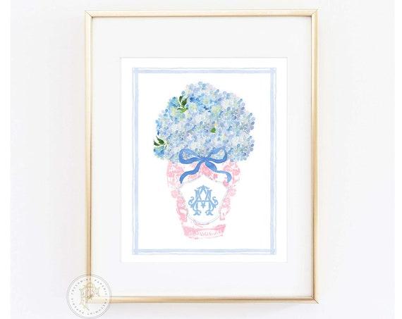 Chinoiserie wall art, Ginger Jar Wall Art, Blue and white Chinoiserie print, Chinoiserie print Wall Art, Monogram Art, Blue & white vase
