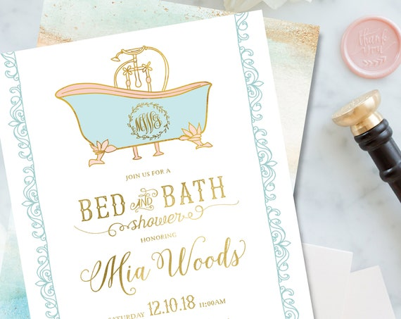 Bed & Bath Shower invitation - bridal shower invitation - bath invitation - Bed and Bath bridal shower invite