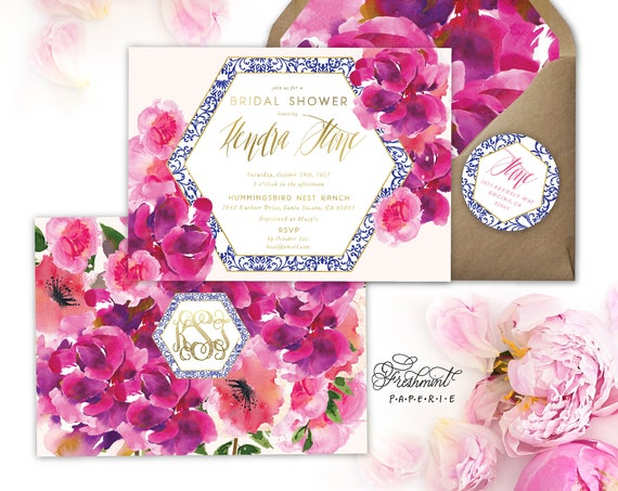 Hot Pink watercolor floral invitation - magenta invitation - bridal shower invitation - floral  invitation - freshmint paperie