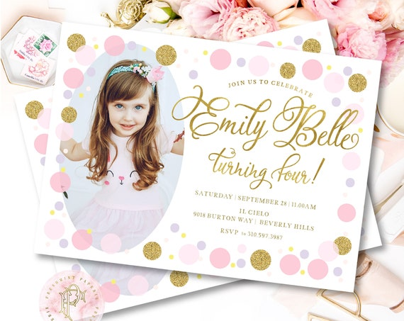 Confetti Picture invitation - Confetti Birthday invittaion - Confetti Party - Confetti invitation - Picture invitation - Balloon invitation
