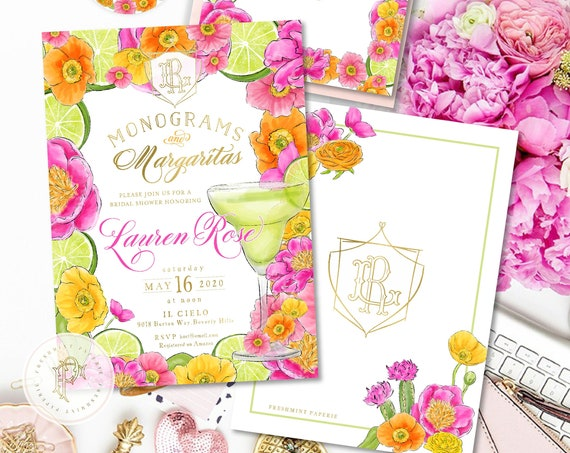 Monograms & Margaritas Bridal Shower Invitation, Fiesta, Monogram Bridal Shower Invite, Tropical Floral Margaritas, Digital or Printed