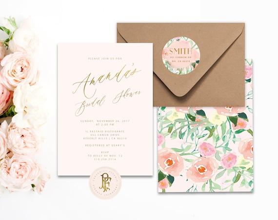 watercolor floral invitation | soft peach invitation | blush pink invitation | bridal shower invitation | freshmint paperie
