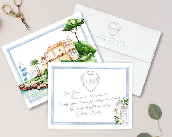 Personalized Stationery - Monogram Note Cards - Monogram Stationery Note Cards - Stationery Suite - Watercolor Suite