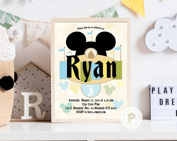 Vintage Mickey Mouse invitation - Mickey Mouse Birthday - Classic Mickey - Mickey invitation - Mickey Printable invitation - Classic
