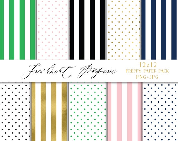 Preppy digital paper  - stripes & polka dots digital paper - freshmint paperie