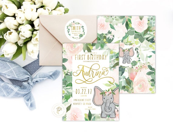Elephant invitation | Elephant Birthday Invitation | Birthday invitation |  Succulent Invitation | Easter Invite | Elephant theme