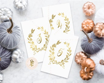 laurel wreath table numbers | 1-20 | table numbers | gold table numbers | pretty table numbers | freshmint paperie